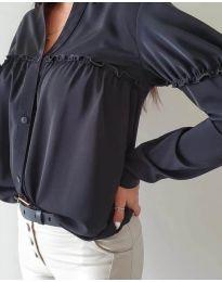 Черна елегантна риза с къдрички - код - 333 - 6