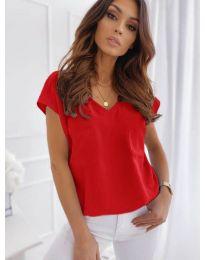 Свободна изчистена тениска в червен цвят - код 920
