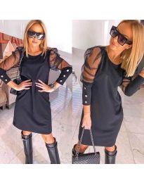 Черна рокля с бухнали тюлени ръкави - код 799 - 1