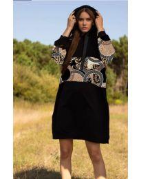 Свободна дамска рокля в черно - код 4546 - 4