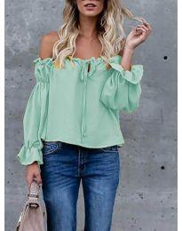 Блуза с лодка деколте в цвят мента - код 5574