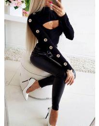 Блуза в черно с ефектно деколте и капси на ръкава - код 3508