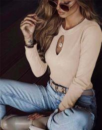 Ефектна дамска блуза в бежово - код 2859