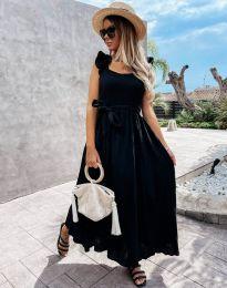 Дълга рокля с ефектен гръб в черно  - код 4806