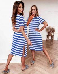 Дамска рокля на сини райета - код 7794