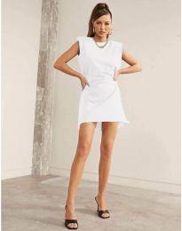 Свободна къса дамска рокля в бяло - код 625