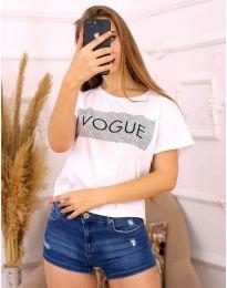 Бяла тениска с надпис - код 3539