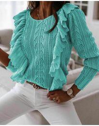 Дамски пуловер в цвят мента - код 9087
