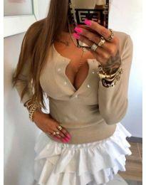Блуза с дълги ръкави и отворено деколте в бежово - код 082