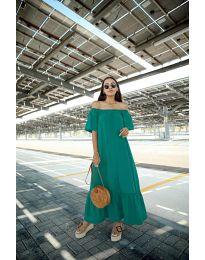Дълга рокля в цвят тюркоаз - код 3636