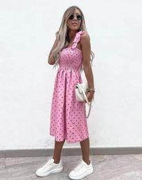 Дамска рокля в цвят розово на точки - код 4535 - 7