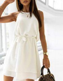 Дамска рокля с колан в бяло - код 9968