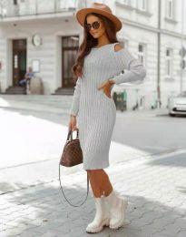 Модерна дамска рокля в сиво - код 8203