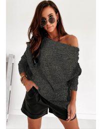 Дамска пуловер в тъмно сиво - код 4323