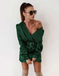 Стилна дамска рокля в тъмнозелено - код 0659