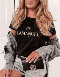 Атрактивна дамска тениска в черно - код 4004
