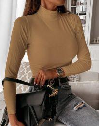 Дамска блуза с поло яка в цвят капучино - код 6087