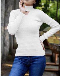 Дамска блуза с поло яка в бяло  - код 5191