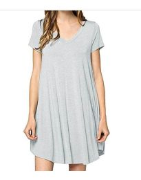 Свободна дамска рокля в сиво- код 5938