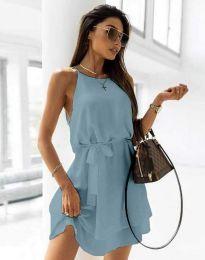 Дамска рокля с колан в светлосиньо - код 9968