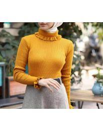 Дамско поло с ефектна яка в цвят горчица - код 6556