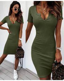 Изчистена рокля в маслено зелено - код 8829