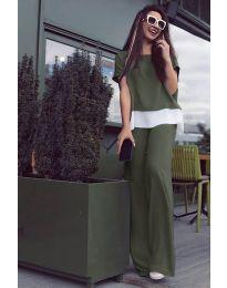 Дамски комплект в маслено зелено - код 5044