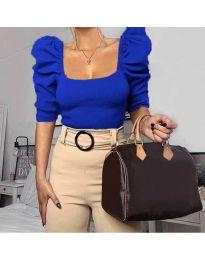 Дамска блуза с бухнали ръкави в синьо - код 9867