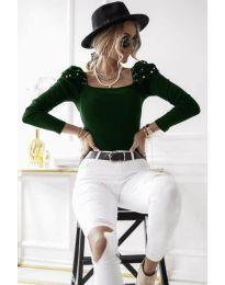 Елегантна блуза в тъмно зелено - код 15766