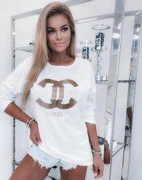 Атрактивна дамска блуза в бяло - код 0677