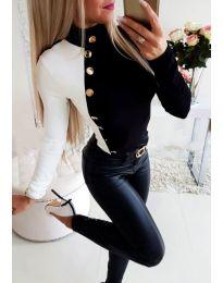 Елегантна блуза с копчета в черно и бяло - код 3496 - 1