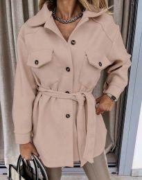 Дамско палто в цвят пудра - код 4966
