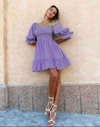 Ефирна рокля с паднали рамене в лилаво - код 4791