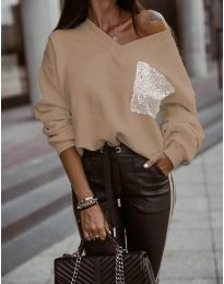 Дамска блуза в цвят капучино - код 904