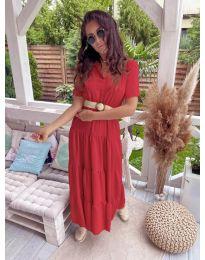 Дълга ефирна рокля в червено - код 641