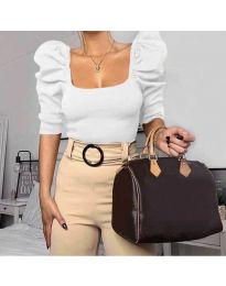 Дамска блуза с бухнали ръкави в бяло - код 9867