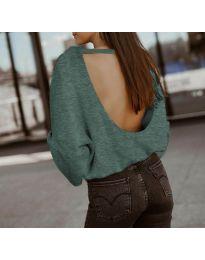 Дамска блуза с ефектен гръб в тъмно зелено - код 2666