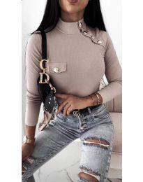 Дамска блуза с поло яка в бежово - код 11486