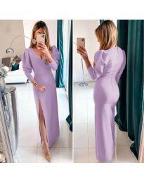 Дълга рокля с цепка в лилав цвят - код 210