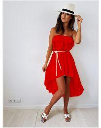 Асиметрична рокля в червено - код 054
