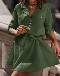 Дамска рокля тип риза в масленозелено - код 4950