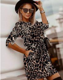 Стилна рокля с ефектен десен - код 3060 - 5