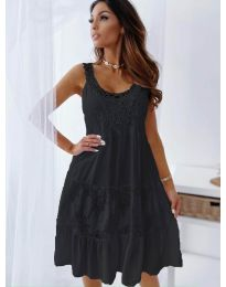 Свободна рокля с дантела в черно - код 3232