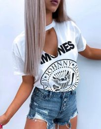 Атрактивна тениска в бяло - код 4480