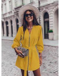 Дамска рокля с цип в цвят горчица - код 820