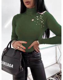 Елегантно дамско поло в маслено зелено - код 2552