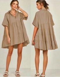 Свободна рокля в цвят капучино - код 6464