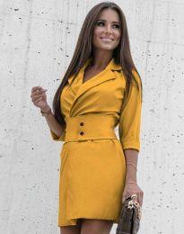 Дамска рокля в цвят горчица - код 1356