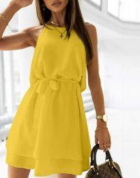 Дамска рокля с колан в жълто - код 9968