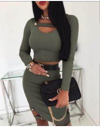 Дамски комплект от пола и блуза в зелено - код 268